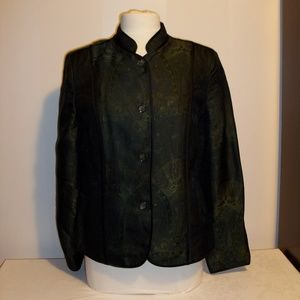 Green Brocade Mandarin Collar Jacket